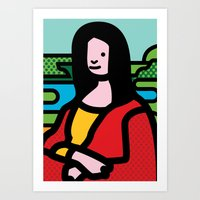 mona lisa Art Prints featuring Mona Lisa by Hello Animal