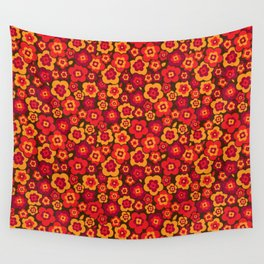 Retro Vintage Orange Poppies Wall Tapestry