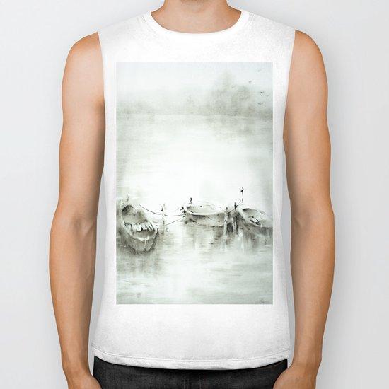 boats on the river Biker Tank