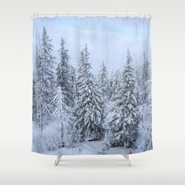 Snowy forest at the White Mountain Shower Curtain