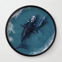 whales Wall Clocks featuring whales by Daniela Di Gennaro