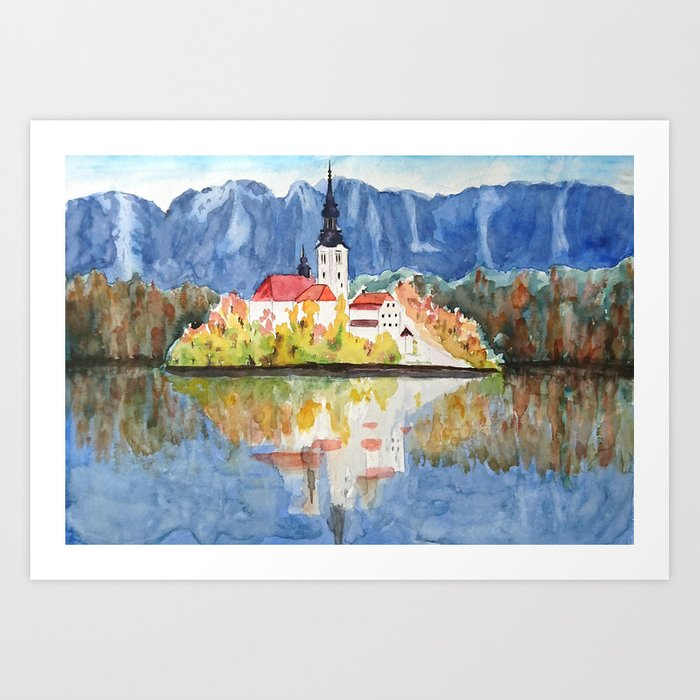 Church of the Assumption in Lake Bled Slovenia Art Print