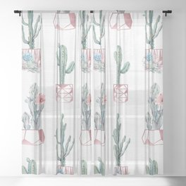 Rose Gold Potted Cactus with Succulents Sheer Curtain