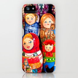 Culture. Group of matrioska, or babushka, symbol of maternity from Russia. iPhone Case