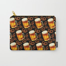 Beer & Pretzel Pattern - Black Carry-All Pouch