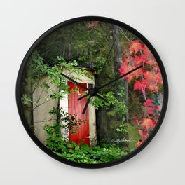 The Red Outhouse Door Wall Clock