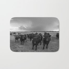 Hanging Out - Black and White Photo of Cows in Kansas Bath Mat