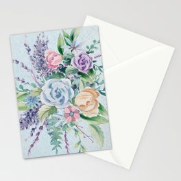 Romantic Watercolor Flowers Bouquet Stationery Cards