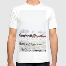 Winter Horse Herd MEDIUM White Mens Fitted Tee