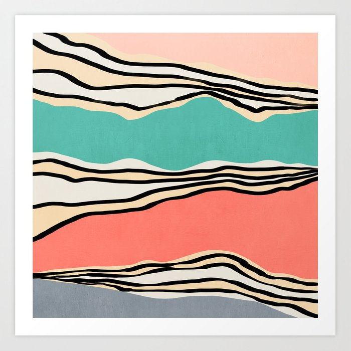 Modern irregular Stripes 10 Art Print