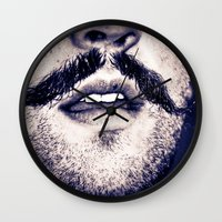 moustache Wall Clocks featuring Moustache  by Larry Bierce