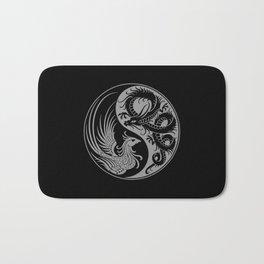 Gray and Black Dragon Phoenix Yin Yang Bath Mat