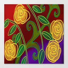 Yellow Roses Abstract Digital Painting Canvas Print