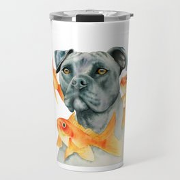 Guardian | Pit Bull Dog and Goldfishes Fantasy Watercolor Illustration Travel Mug