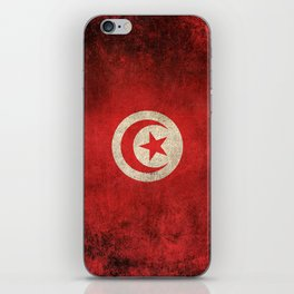 Old and Worn Distressed Vintage Flag of Tunisia iPhone Skin