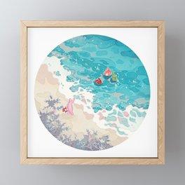 Jelly and friends at beach Framed Mini Art Print