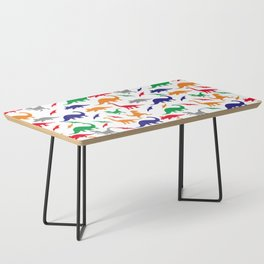 Colorful Dinos in Green, Grey, Red, Blue Yellow Coffee Table
