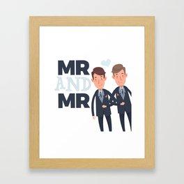 Mr and Mr gay wedding Framed Art Print
