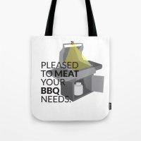 pun Tote Bags featuring BBQ Pun by Robin Kurtz