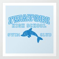 iwatobi Art Prints featuring Iwatobi - Dolphin by drawn4fans