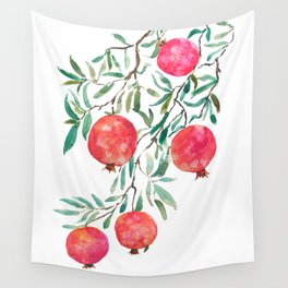 red pomegranate watercolor Wall Tapestry