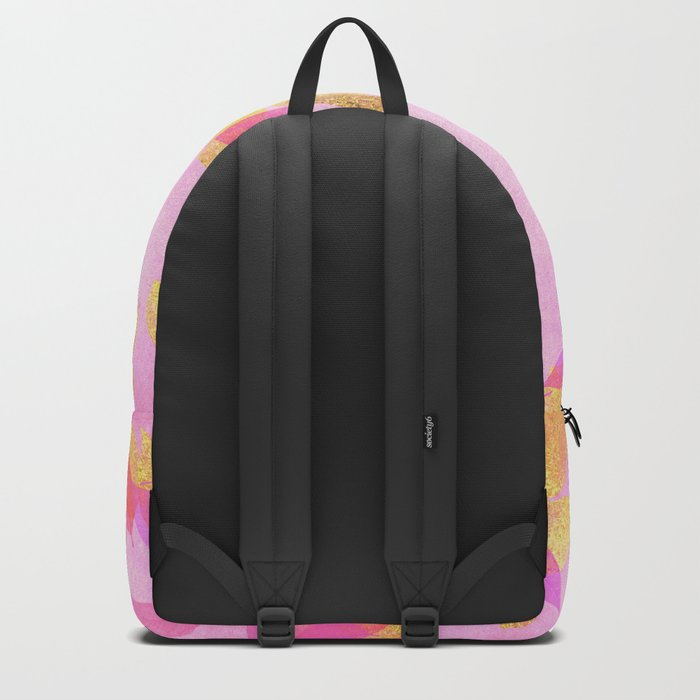 Autumn-world 5 - gold glitter leaves on pink background on #Society6 Backpack