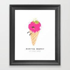 Monster Monday Ice Cream Zombie Framed Art Print
