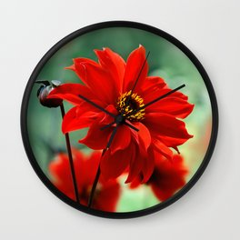 Dahlia red 082 Wall Clock