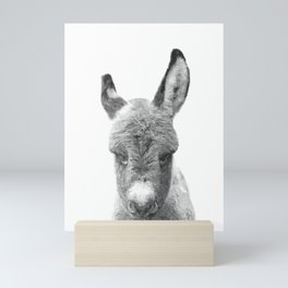 Black and White Baby Donkey Mini Art Print
