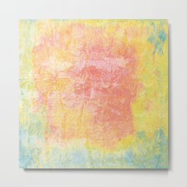 Pink, Yellow and Blue Texture Metal Print