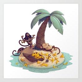 Monkey Desert Island Art Print