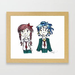 Two Little School Girls Framed Art Print