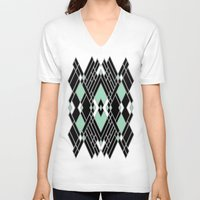art deco V-neck T-shirts featuring Art Deco Zoom Mint by Project M