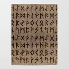 Ancient Celtic Runes  Alphabet pattern Poster