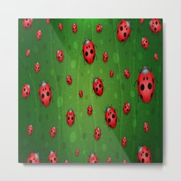 Ladybugs red leaf green polka animals insect Metal Print