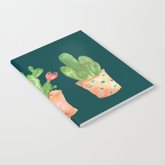 Three Green Cacti On Green Background Notebook