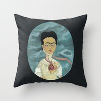 frida kahlo Throw Pillows featuring Frida Kahlo by Chris Talbot-Heindl