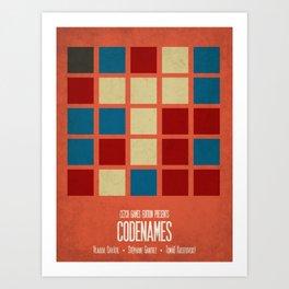 Codenames (Red) - Minimalist Board Games 05B Art Print