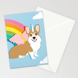 Corgicorn - cute pastel corgi unicorn pegasus rainbow cute kawaii unicorn corgi Stationery Cards