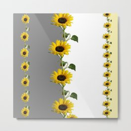 LINEAR YELLOW SUNFLOWERS GREY & WHITE ART Metal Print