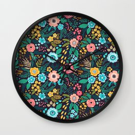 Amazing floral pattern with bright colorful flowers, plants and berries. Wall Clock