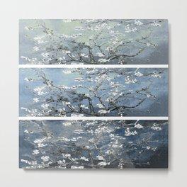 Vincent Van Gogh : Almond Blossoms Panel Art Blue Steel Teal Metal Print