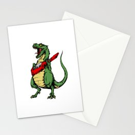 T-Rex + Keytar Stationery Cards
