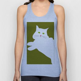 White cat on the green grass Unisex Tank Top