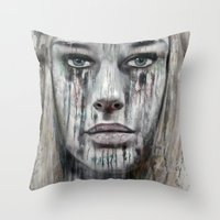 woman Throw Pillows featuring woman by teddynash