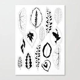 Jungle Leaves in Black and White Canvas Print