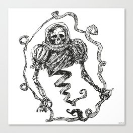 Skull with a Renaissance Spacehelmet Canvas Print