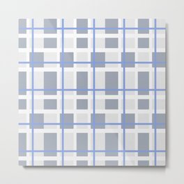 Retro Abstract Plaid Blue and Gray Metal Print