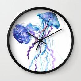 Jellyfish Blue Sea world artwork Aquatic Design, blue room design beach Wall Clock