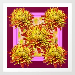 Stylized Abstracted Burgundy Yellow Chrysanthemums Floral Art Print